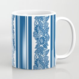 Blue stripes and abstract flowers Coffee Mug