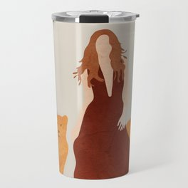 Woman with Cheetahs Travel Mug