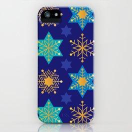 Hanukkah Holidays Star of David and Snowflake Pattern iPhone Case