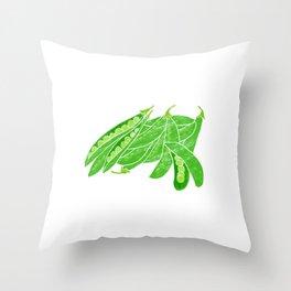 Illustration of fresh snow peas Throw Pillow