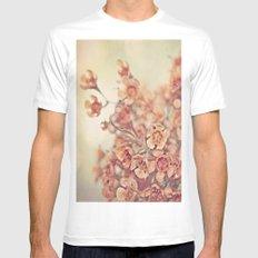 Orange Waxflowers MEDIUM White Mens Fitted Tee