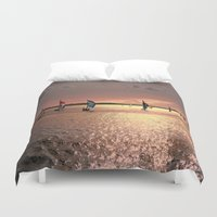 sail Duvet Covers featuring Sunset Sail In Bermuda by Judy Palkimas