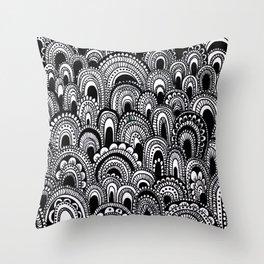 black and white scallops Throw Pillow
