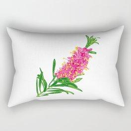 Beautiful Pink Australian Native Floral Illustration Rectangular Pillow