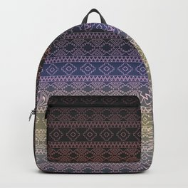 Antique Faded Ombre Shaded Rainbow Aztec Geometric Tribal Pattern Backpack