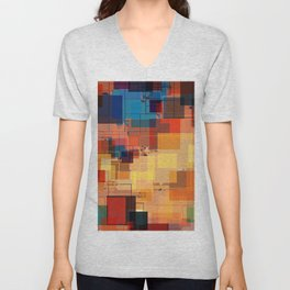 Multi color Square Geometrical Overlays Unisex V-Neck