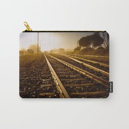 Railway Tracks at sunrise and twilight sky Carry-All Pouch