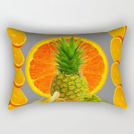 CONTEMPORARY  PINEAPPLE  & ORANGES GRAPES GREY ART DESIGN decor, Rectangular Pillow