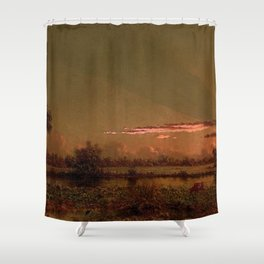 Tropical Everglades Pink Sunset with clouds and palm trees Florida marsh river of grass landscape painting by Martin Johnson Heade Shower Curtain