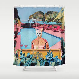 Kitty pool Shower Curtain