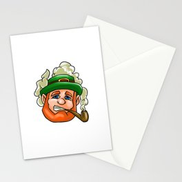 Leprechaun Face Smoking Pipe St Patricks Day Stationery Cards