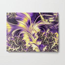 Nonbinary Pride Shiny Opulent Fractals Metal Print