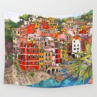 italy Wall Tapestries featuring Manarola, Italy  by Marcella Wylie