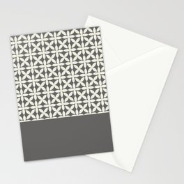 Pantone Cannoli Cream Square Petal Pattern on Pantone Pewter Stationery Cards