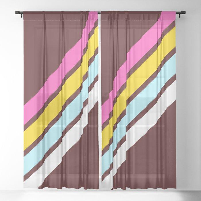 80's Style Retro Stripes Sheer Curtain