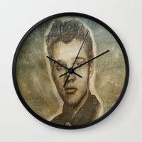 elvis presley Wall Clocks featuring Elvis Presley by Dan99