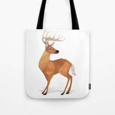 Low Poly White-tailed Deer Tote Bag