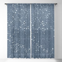 """Map"" of our sky Sheer Curtain"