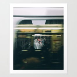 Trains passing in downtown Chicago Art Print