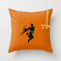 basketball Throw Pillows featuring Basketball  by Enzo Lo Re