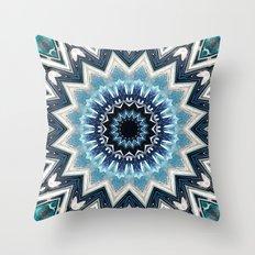 Pointed Blue Mandala Throw Pillow