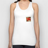 sticker Tank Tops featuring Sticker with UK flag by Lulla