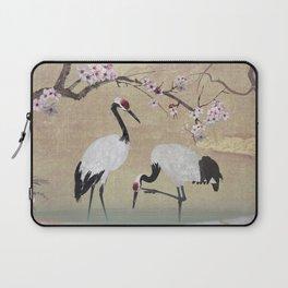 Cranes Under Cherry Tree Laptop Sleeve