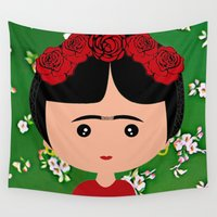 frida kahlo Wall Tapestries featuring Frida Kahlo by Creo tu mundo