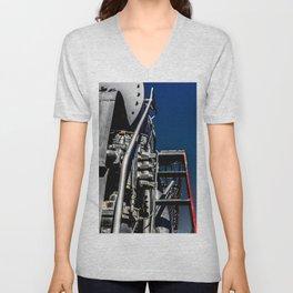 Vintage Steam Engine Locomotive Abstract Unisex V-Neck