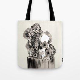 Life on a pedestal, floral skull Tote Bag