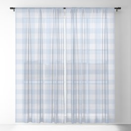 Gingham Pattern - Blue Sheer Curtain