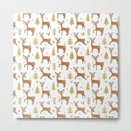 Pastel green brown cute Christmas deer festive pattern Metal Print