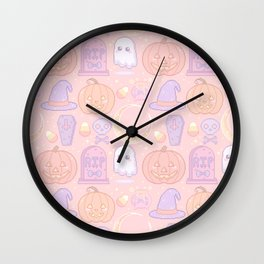 Halloween Pixel Pattern Wall Clock