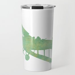 Green nursery airplane wall art print vintage Travel Mug