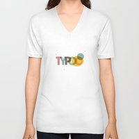 typo V-neck T-shirts featuring typo by Vin Zzep