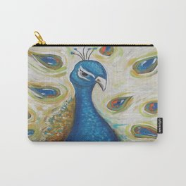 Peacock with White Carry-All Pouch