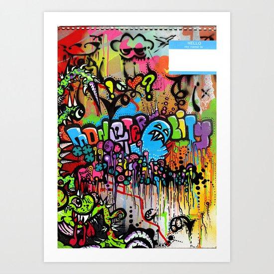 A Monster City Hello Art Print
