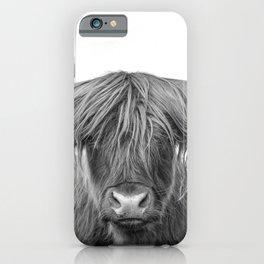 Portrait Scottish Highland Cow Animal Photograph Black and White iPhone Case