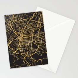 MEXICO CITY GOLD ON BLACK CITY MAP Stationery Cards