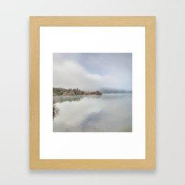 Foggy lake. At sunrise Framed Art Print