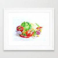 vegetables Framed Art Prints featuring Vegetables by LiliyaChernaya