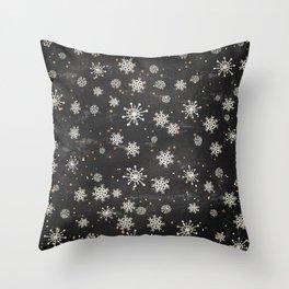 Boho Black Snowflakes Throw Pillow