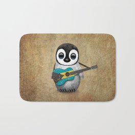 Baby Penguin Playing Bahamas Flag Acoustic Guitar Bath Mat