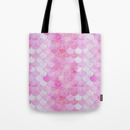 Pink Pearlescent Mermaid Scales Pattern Tote Bag