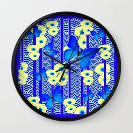 Blue Butterflies Cream-Blue Asia Style Modern Art Wall Clock