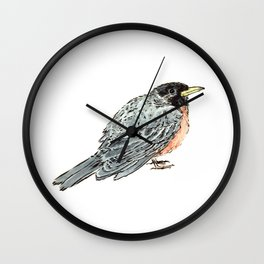 Grey Watercolor Bird Wall Clock