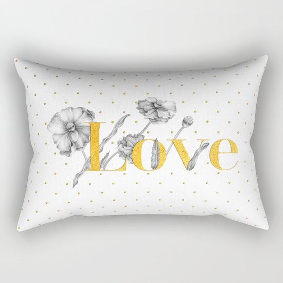 Love - Gold flowers and polkadots on white Rectangular Pillow