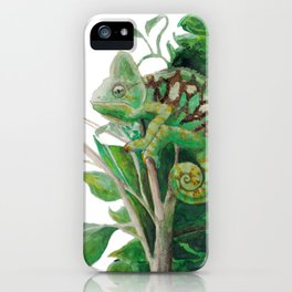 Chameleon in Watercolour iPhone Case