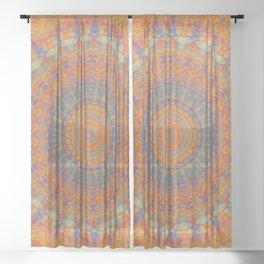 Bright Orange Blue Mandala Sheer Curtain