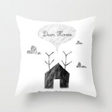 Deer Home Throw Pillow